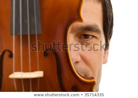 Férfi arc rejtett mögött hegedű részlet Stock fotó © lightkeeper
