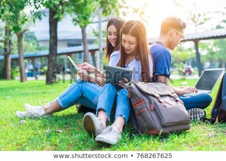 diákok · kampusz · dolgozik · kint · lány · boldog - stock fotó © photography33