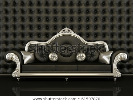 Stock photo: Royal  furniture in a luxurious interior, black upholstery and g