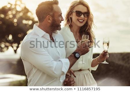aşıklar · içme · şampanya · üst · görmek · genç - stok fotoğraf © photography33