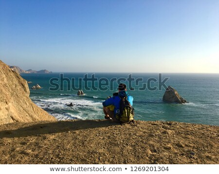 Syn ojca posiedzenia krawędź ocean wody rodziny Zdjęcia stock © photography33