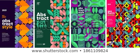 Foto stock: Colorful Hearts With Geometric Pattern Vector