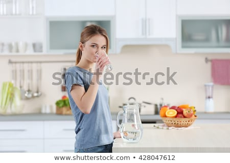 Woman drinking from bowl Stock photo © photography33