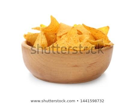 Nachos chipy puchar biały żywności strony Zdjęcia stock © ozaiachin