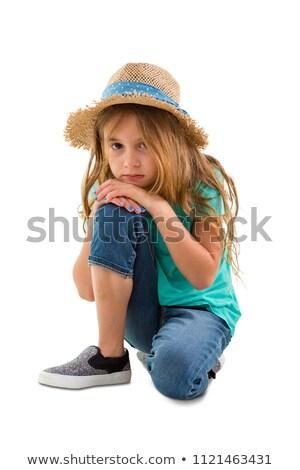 Kislány térdel lefelé pihen kicsi ázsiai Stock fotó © jarenwicklund