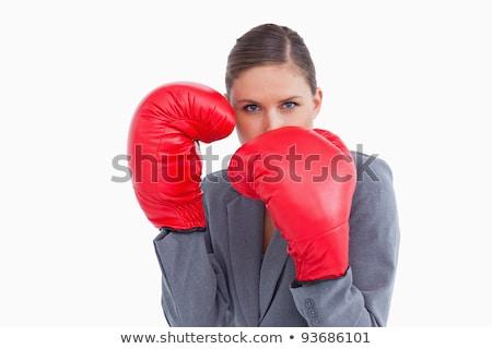 Bokshandschoenen positie witte business vrouw pak Stockfoto © wavebreak_media