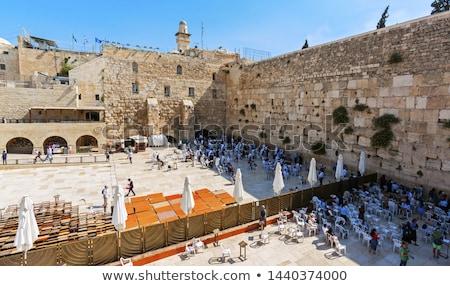 Imádkozik fal kettő ortodox férfiak Jeruzsálem Stock fotó © eldadcarin