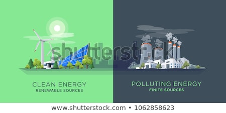 Green Landscape with Windmills and Nuclear Power Plant Stock photo © WaD