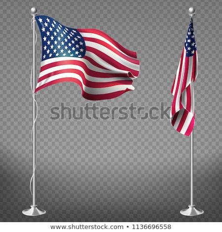 Amerikan bayrağı kutup perspektif gökyüzü mavi kırmızı Stok fotoğraf © alex_grichenko