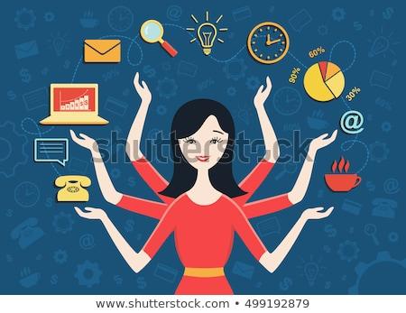 Multitaszking nő ül asztal négy karok Stock fotó © jayfish