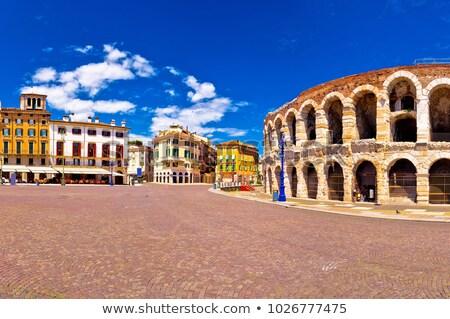 Piazza Bra in Verona Viewed from Ancient Roman Amphitheater, Ven Stock photo © anshar