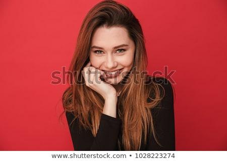 Amigável encantador mulher jovem belo longo loiro Foto stock © fantasticrabbit
