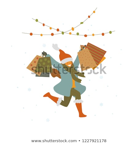 Noel · alışveriş · kız · sevimli · esmer - stok fotoğraf © carodi
