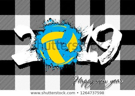 Stockfoto: Volleybal · team · geïsoleerd · achtergrond · Blauw