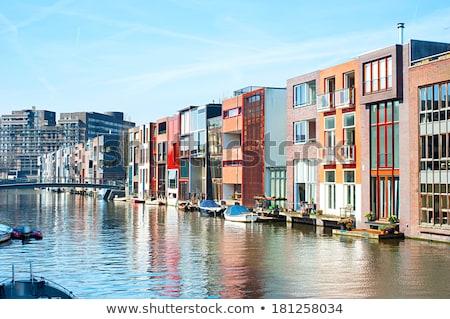 kanal · Amsterdam · yaz · gün · Hollanda · gökyüzü - stok fotoğraf © joyr