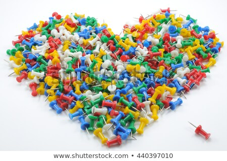 colorful push pins in heart shape on white background Stock photo © nuiiko