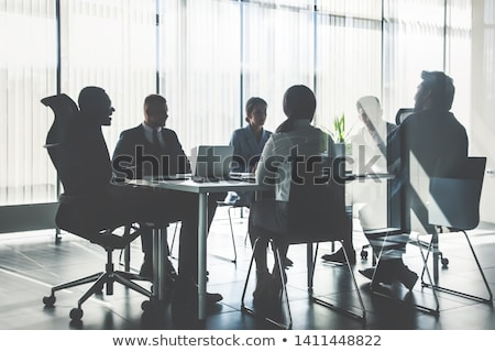 Iş adamları toplantı oturma siluet eps 10 Stok fotoğraf © Istanbul2009