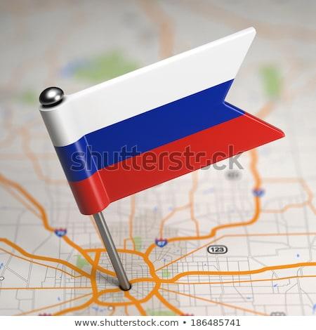 Россия небольшой флаг карта избирательный подход фон Сток-фото © tashatuvango