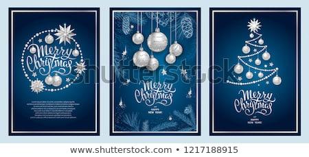 Stock fotó: Ezüst · kék · karácsony · golyók · akasztás · damaszt