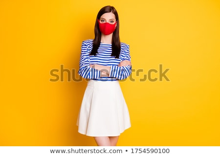 Trendy beautiful woman in red  white and blue Stock photo © dash