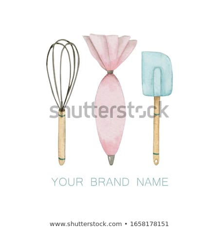 Wooden background with whisk and wooden spoon Stock photo © Zerbor
