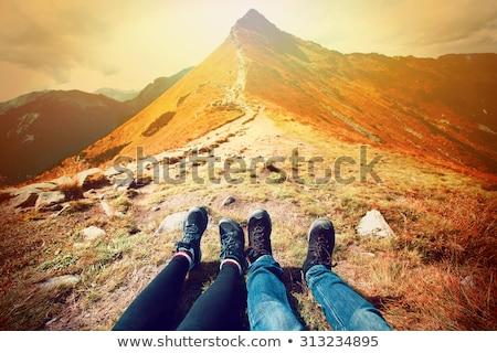 Trekking ayakkabı çim dağ Stok fotoğraf © Lio22