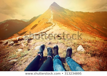 Trekking chaussures herbe montagne Photo stock © Lio22