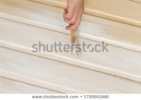 Stockfoto: Borstel · houten · witte · gebarsten · textuur