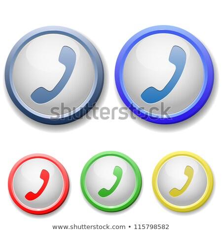 Blue button with phone handset icon stock photo © aliaksandra