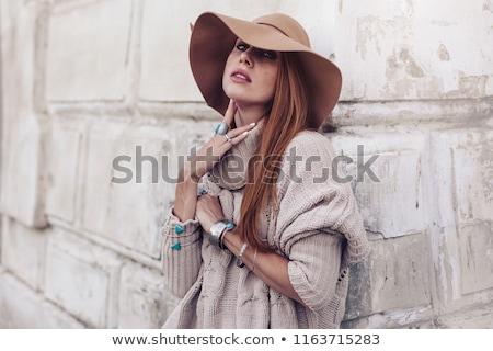 woman wearing woolen accessories stock photo © hasloo