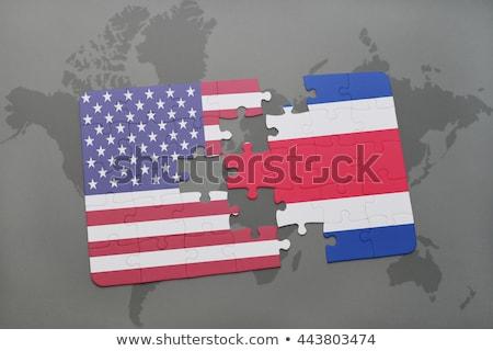 Costa · Rica · vlag · puzzel · geïsoleerd · witte · business - stockfoto © istanbul2009