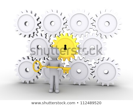 Képességek arany kulcs kulcslyuk izolált fehér Stock fotó © tashatuvango