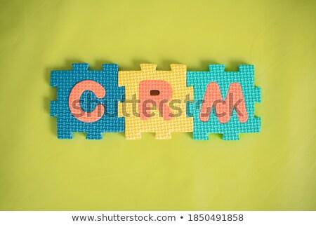 Crm fehér szó kék vásárló kapcsolat Stock fotó © tashatuvango