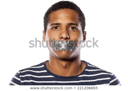 censorship concept man with duct tape on mouth stock photo © stevanovicigor