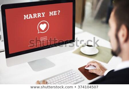 мне сообщение столе кофе бумаги свадьба Сток-фото © fuzzbones0