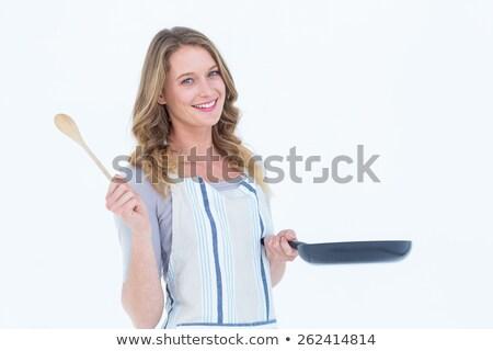 Mujer sonriente sartén cuchara de madera blanco feliz Foto stock © wavebreak_media