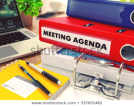 Toplantı gündem kırmızı ofis Klasör görüntü Stok fotoğraf © tashatuvango