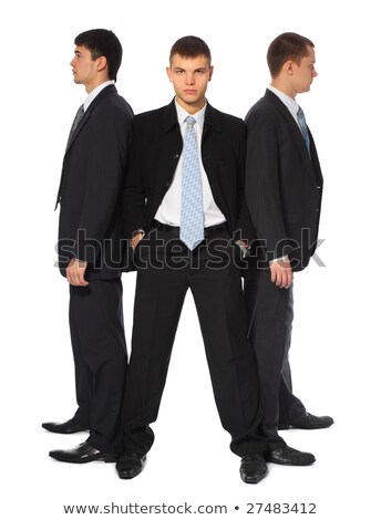 Three young businessmen stand semicircle Stock photo © Paha_L
