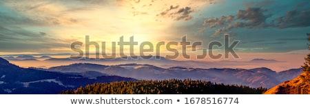 Napfény hegy este tájkép gyönyörű naplemente Stock fotó © Kotenko