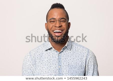 Boldog férfi széles mosoly jóképű férfi fürtös Stock fotó © ozgur