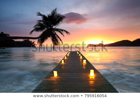 синий · красный · закат · красивой · пляж · небе - Сток-фото © vapi