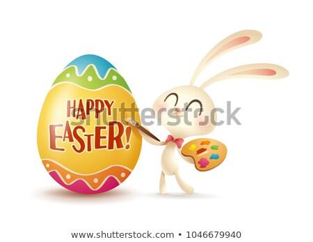 Tavşan boyama sevimli karikatür yumurta Paskalya Stok fotoğraf © zsooofija