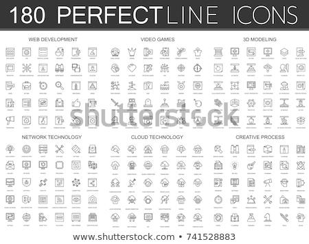 gra · wideo · cienki · line · ikona · internetowych · komórkowych - zdjęcia stock © rastudio