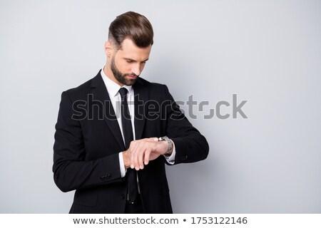 man · zwart · pak · tijd · portret · elegante · jonge · man - stockfoto © feedough