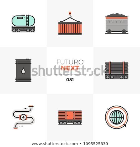 Vasút víztartály vonal ikon sarkok háló Stock fotó © RAStudio
