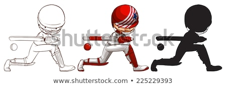 three sketches of a cricket player in different colors stock photo © bluering