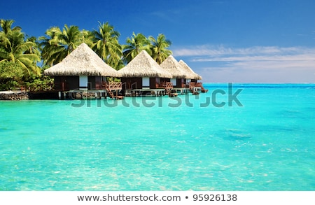 Bangalô mar água exótico recorrer praia Foto stock © dolgachov