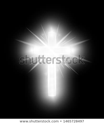 Argent christian croix vacances carte Pâques Photo stock © carodi