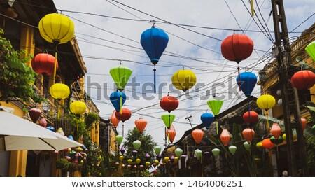Seda lanternas vermelho ano novo Vietnã papel Foto stock © shevtsovy
