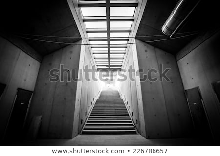 Industrial warehouse concrete staircase, black and white Stock photo © stevanovicigor